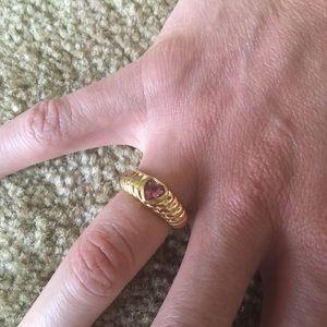 TIFFANY & CO 18K Gold Pink Tourmaline Size 5